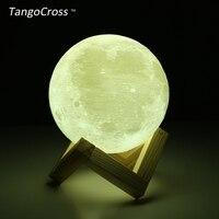 TangoCrossแบบชาร์จ3Dพิมพ์ดวงจันทร์LEDหลอดไฟกลางคืนLuminaria Luna 2สีสัมผัสสวิทช์15