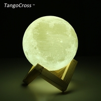 TangoCross Rechargeable 3D Print Moon Lamp LED Night Light Luminaria Luna 2 Colors Touch Switch 15cm