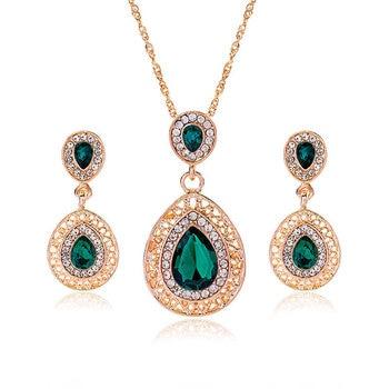 Luxury  Gold rhinestone crystal Jewelry Set 3