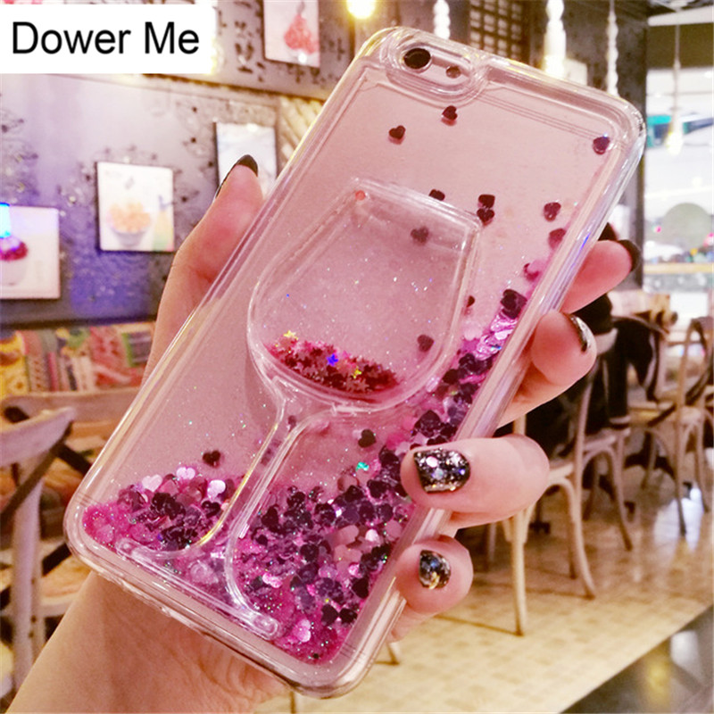Brave Dower Me Diy Wine Glass Dynamic Liquid Glitter Sand Case For Iphone Xs Max Xr X 8 7 6 6s Plus Samsung Galaxy S9/8 Plus Note 9 8 Cellphones & Telecommunications Rhinestone Cases
