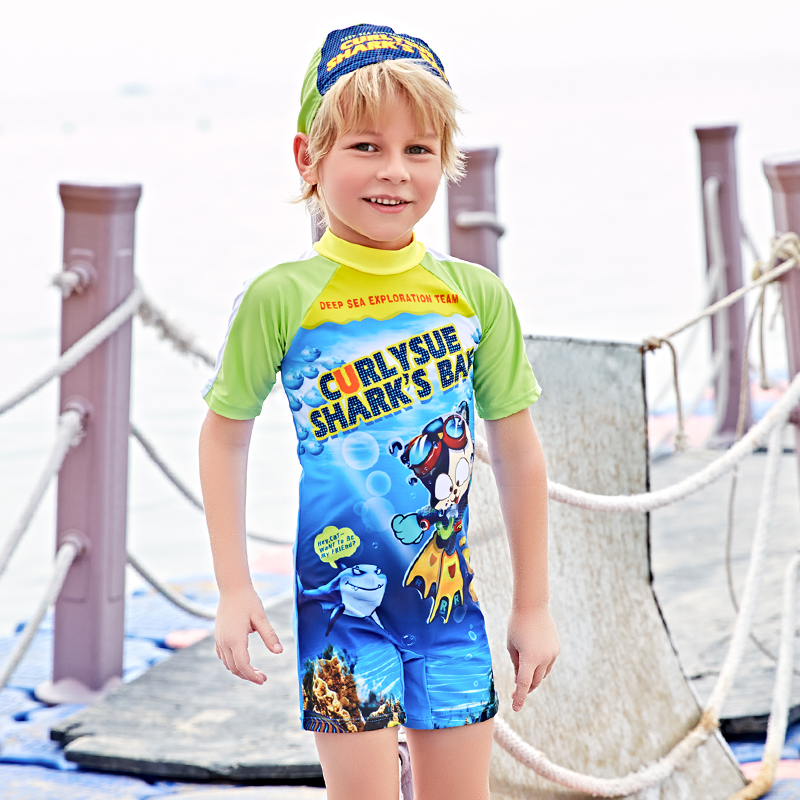 Cartoon Children Boys Girls Short Sleeve Swimwear 2017 Baby Kids Printed Swimsuits Beach One Pieces With Cap Bathing Suit 2XL