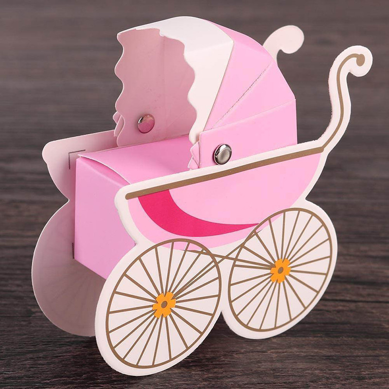 10pc/lot Baby Shower Newborn Baby Candy Box Lovely Mini Stroller Candy Boxes Lovely Babyshower Kid's Party Gift Boxes