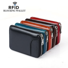 Wholesale 2019 Unisex Genuine Leather Zipper Credit Card Holder ID Holders 6 Color Blocking Wallets With RFID