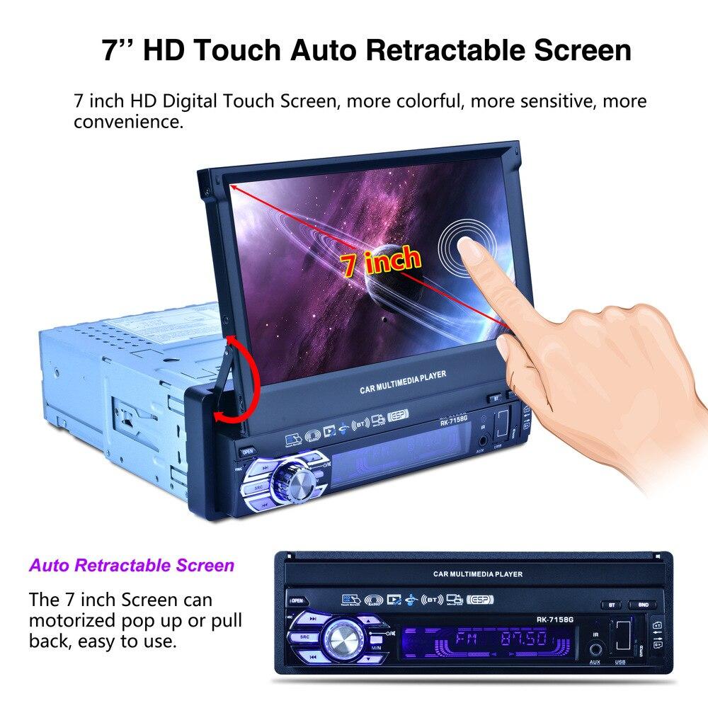 Auto 7 pouces autoradio Navigation GPS entièrement automatique voiture télescopique MP5 MP4 lecteur MP3 coloré lumières Machine affichage
