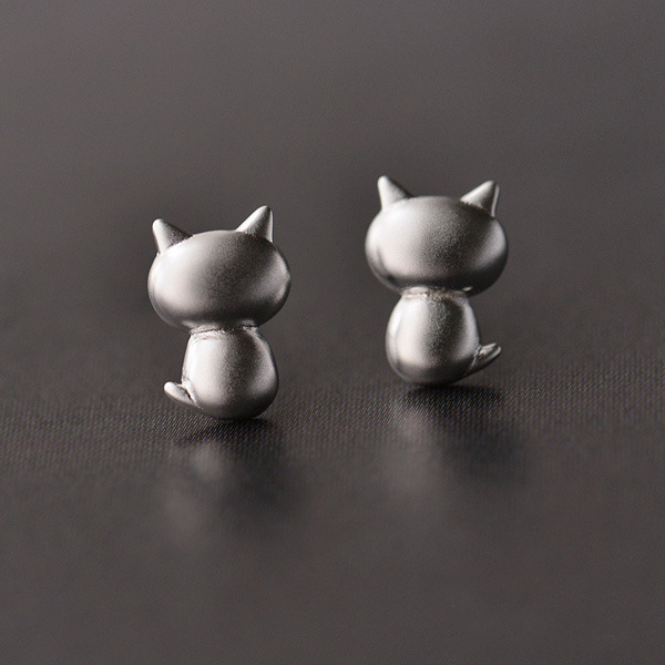 Sterling Silver Cat Earrings Studs
