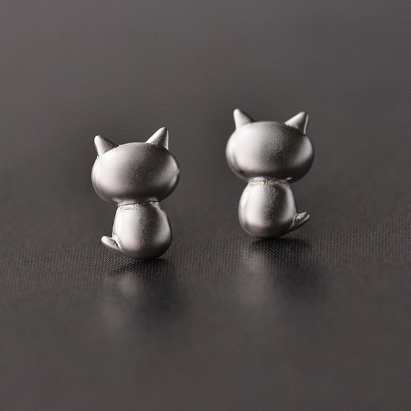 Sterling Silver Cat Earrings Studs