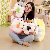 BABIQU 1pc 20/30/40cm Hamster with Snack Pillow Down Cotton Plush Toy Soft Stuffed Doll Cushion Cartoon Cute gift For child kid