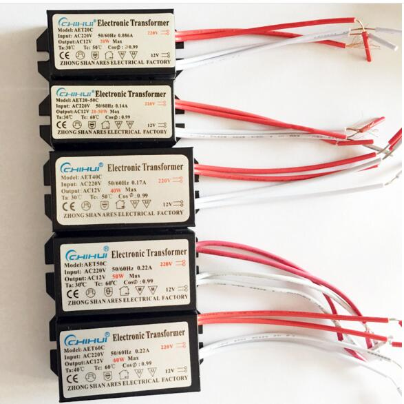 3 Years Warranty Sufficient Power Electronic Transformer For Halogen Lamp AC 220V To AC12V 20W-250W Optional