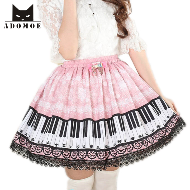 Harpsichord Piano keyboard printed skirts Women Pink lolita princess pleated lace Sweet A line Super Cute