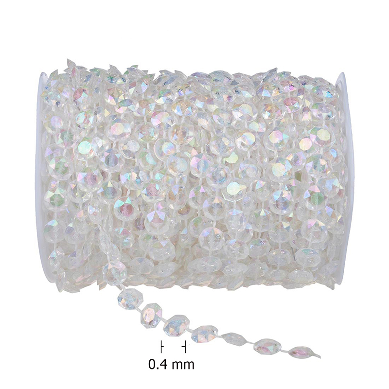 30M Clear <font><b>Glass</b></font> Beads Chain Beauty Curtain Accessories Wedding Decorate Hanging Tool Acrylic Chandelier Pendants Party Ornament
