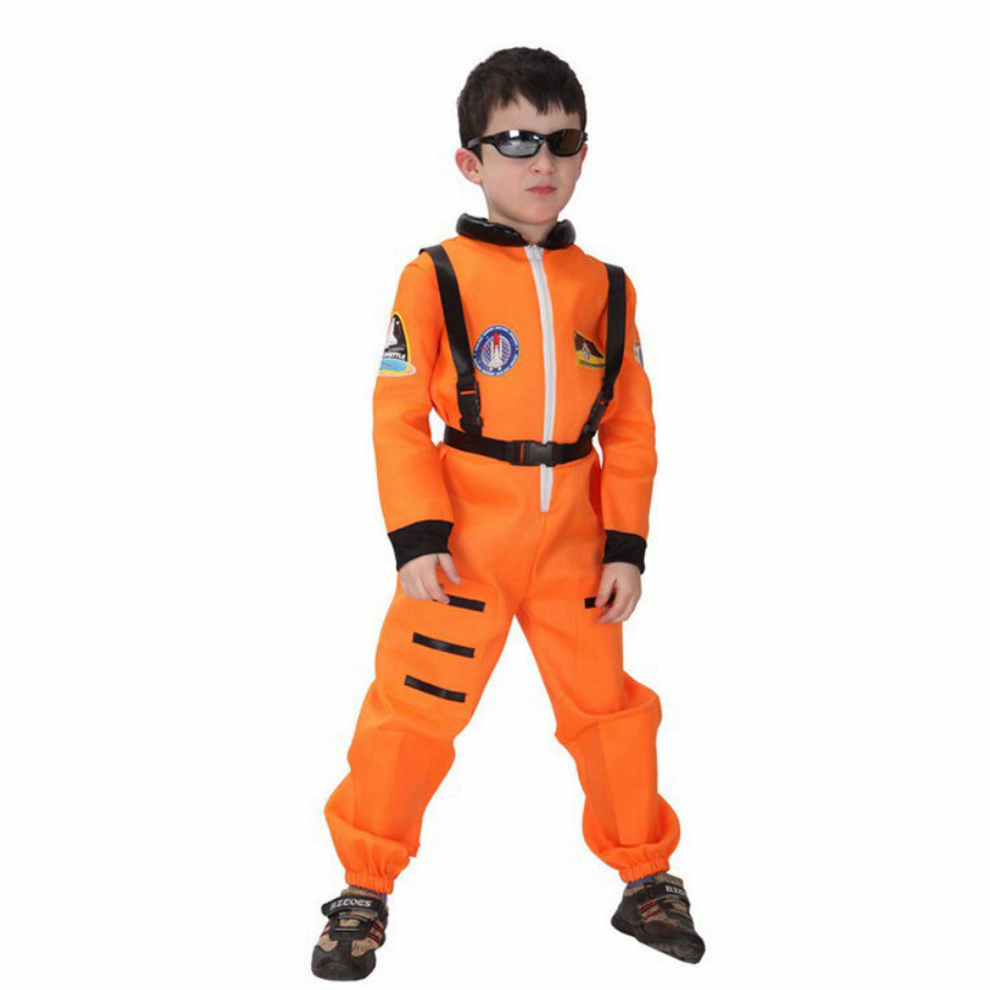 MOONIGHT Aviation Astronaut Costume For Boys Cosplay Children Show Performance Handsome Clothing Jumpsuits+Safety harness