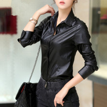 Pu Leather Black Tops Women Leather shirt,fashion Casual Autumn Winter blouse, Female Full Sleeve Pu shirts,Tops TT1425