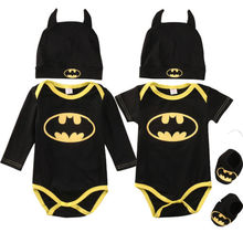 Fashion Batman Baby Boys Rompers Jumpsuit Cotton Tops+Shoes+Hat 3Pcs Outfit