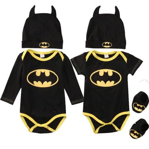 Moda Batman Meninos Macacão Macacão de Algodão Do Bebê Tops + Sapatos + Chapéu 3 pcs Outfit Clothes Set Bebê Recém-nascido 0 -24 m Roupa Dos Miúdos