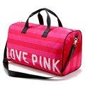 Женщины Моды Бренды В. С. Любовь Розовый Марка Сумки Большой Емкости Путешествия Duffle Полосатый Водонепроницаемый Пляжная Сумка Сумка W54
