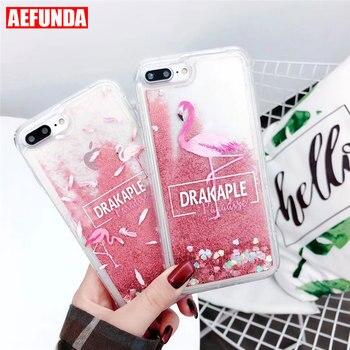 Mignon de Bande Dessinée Liquide Quicksand Cas de Scintillement pour iPhone 7 8 Plus Rose Couverture pour iPhone 6 6 s X XS max XR Flamant Cas Coque Femme