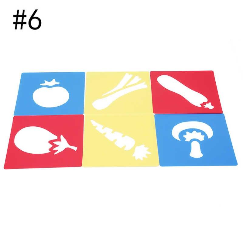 วาดเครื่องมือ 6 ชิ้น/เซ็ตน่ารักสร้างสรรค์ Stencils ชุดเด็กจิตรกรรมแม่แบบเด็ก Stencil Gift
