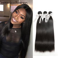 Rebecca Brazilian Hair Weave Bundles 3/4 Bundles Deals 100% Straight Human Hair Bundles 8 to 28 Inch Remy Hair Extensions