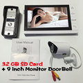 9 Lcd Recording Monitor and 32GB SD Card CCTV 700TVL IR Camera Wired Video Door Phone Intercom System