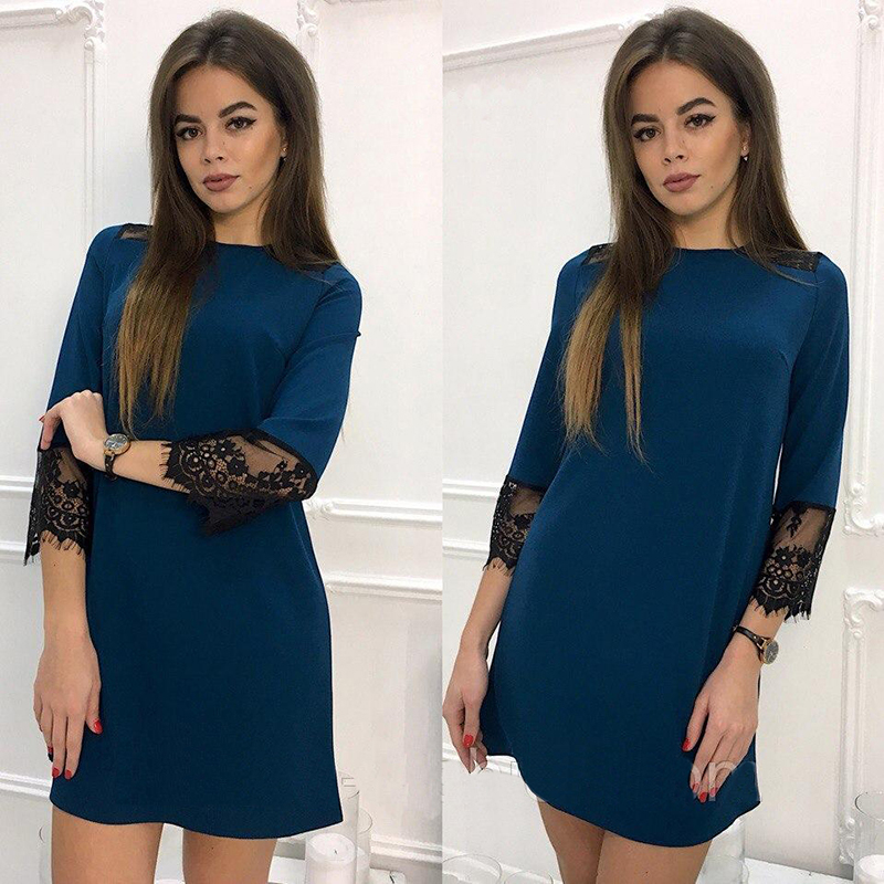 2018 Spring Summer 3/4 Sleeve Fashion Lace Stitching Casual Dress  O-Neck Loose Straight Dress Wine Red l 5