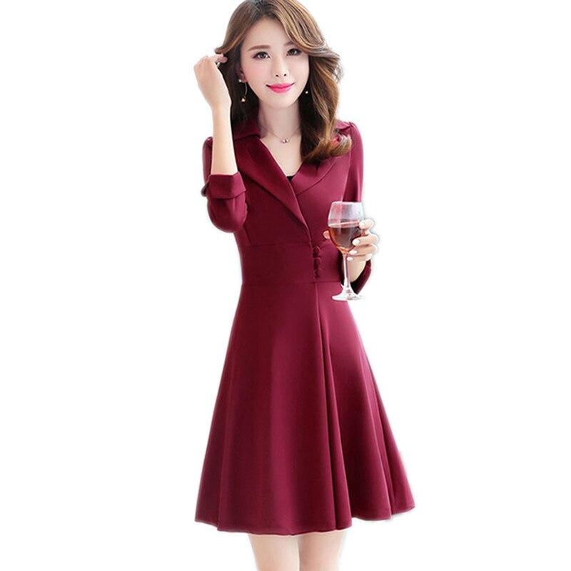 Femmes Affaires Midi rouge 2018 Nouveau Élégante Bureau pourpre Cocktail Vintage Printemps Robe Robes Noir Style Ym167 Mince Mujer nP80wZNOXk