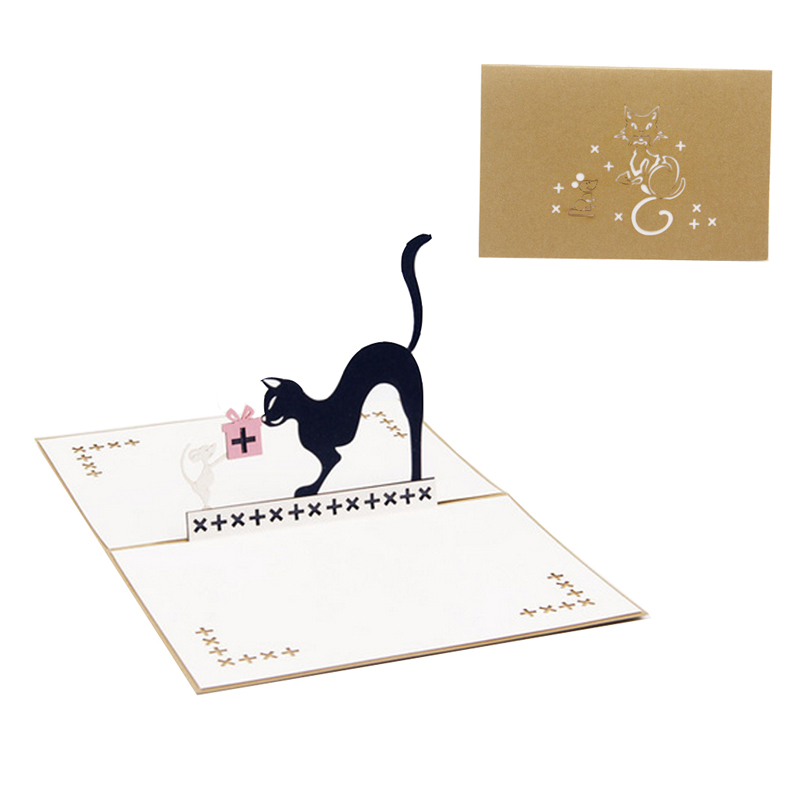 3D Pop Up Cat And Mouse Animal Birthday Greeting Card