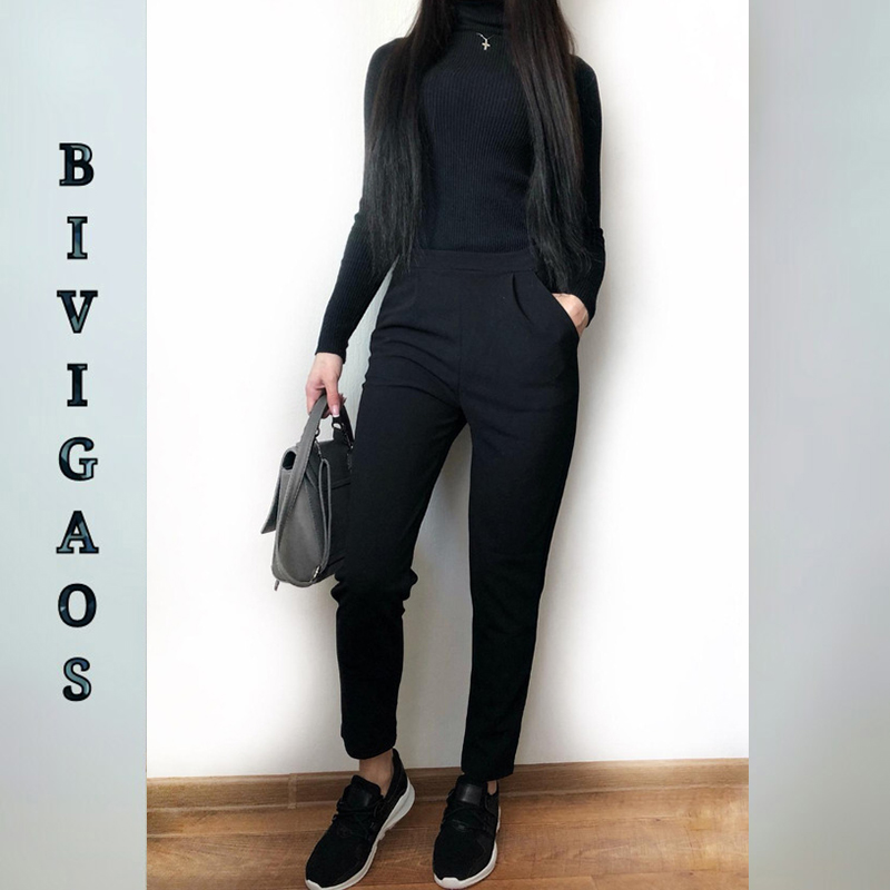 BIVIGAOS Spring Summer New Ladies Korean OL Black Harem Pants Breathable Thin Casual Pencil Pants Simple Suit Trousers For Women 2