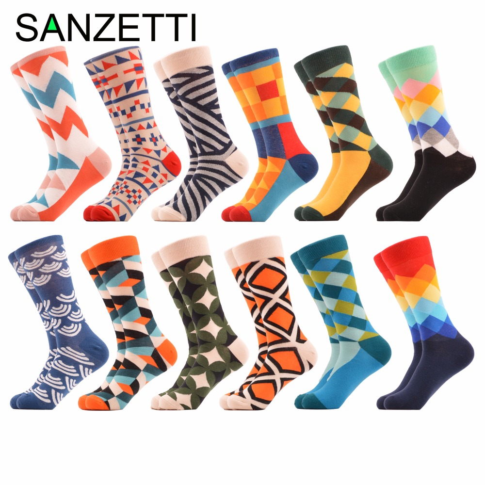 SANZETTI 12 pairs/lot Wholesale Mens Funny Geometric Pattern Combed Cotton Casual Crew Wedding Socks Colorful Novelty Socks