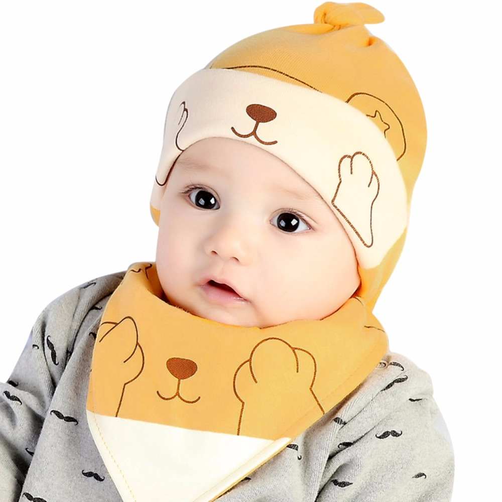 0-12m Baby Kids Boys Girls Cartoon Cotton Hat Cap+triangle Towel Bibs Saliva Set