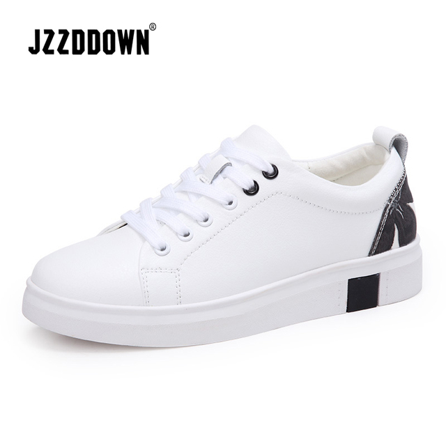 Jzzddown Women sneakers white Genuine leather flats wedding shoes lace up  Moccasins for women s shoes Vulcanize boat Canvas shoe 63e7675632dc