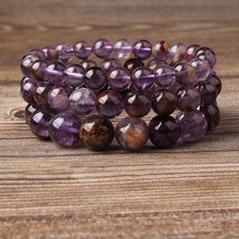 Lingxiang 6/8/10/12mm Crystal clear purple ghost bracelet is suitable for men and women to wear elastic string beads jewelry