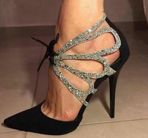2019 Summer Shoes Woman Pumps High Thin Heels Pointed Toes Rhinestone Butterfly Bling Gladiator Pumps Party Sexy Shoes