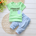 2016 Summer Baby Clothes Set Fashion Baby Suit Cotton Baby Girl Clothing cotton Short Sleeve Baby Boy Striped Set free shipping