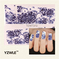 YZWLE 1 Sheet New Nail Art Full Cover Blue Flower Stickers Decals Water Transfer Wraps Decorations Manicure Care Tools