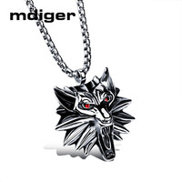 Mdiger Brand Mens Necklaces Jewelry Red Wolf Head Shape Pendants Necklaces High Quality Stainless Steel Necklace
