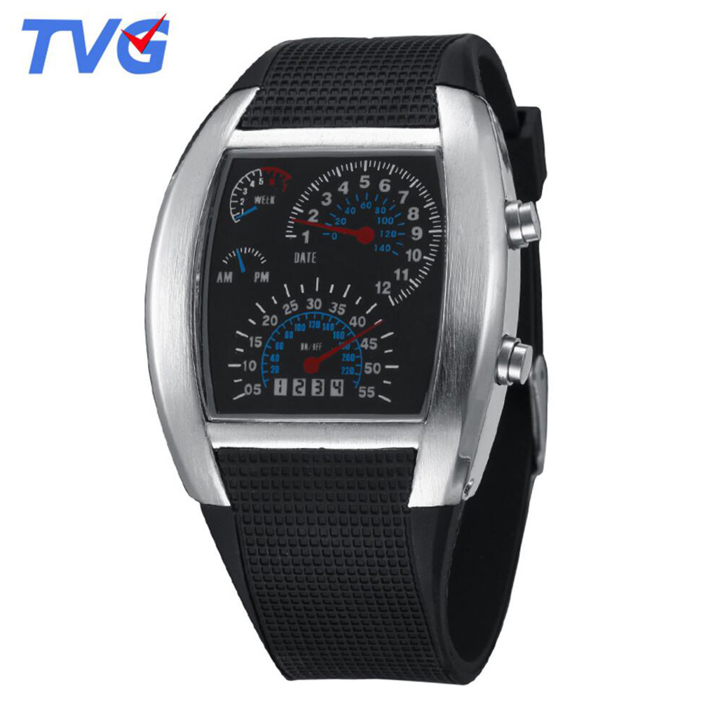 New Men Watches Fashion Binary Led Digital Watch Men Sports Watches Stainless Steel Mesh Band Electronic Watches Reloj Hombre Watches Digital Watches