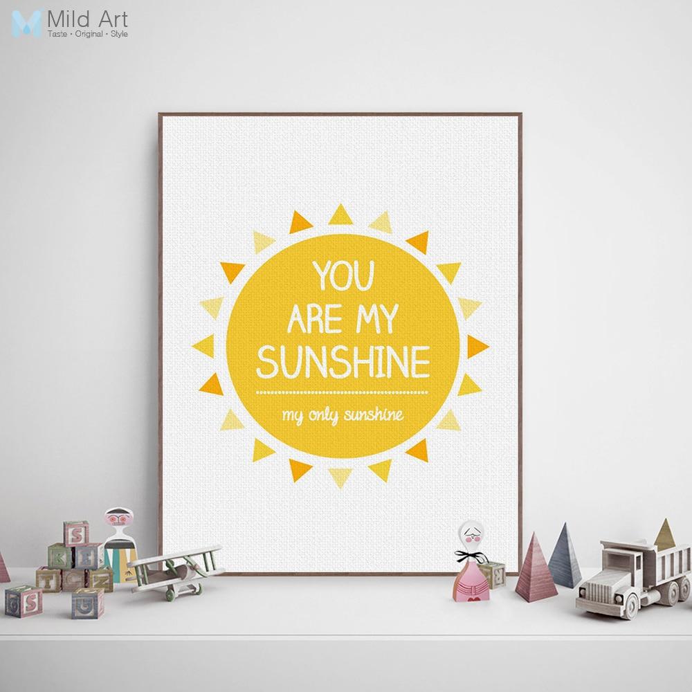 Minimalistisk gul solskin Typografi Kærlighedstegn Citater Kunsttryk - Indretning af hjemmet