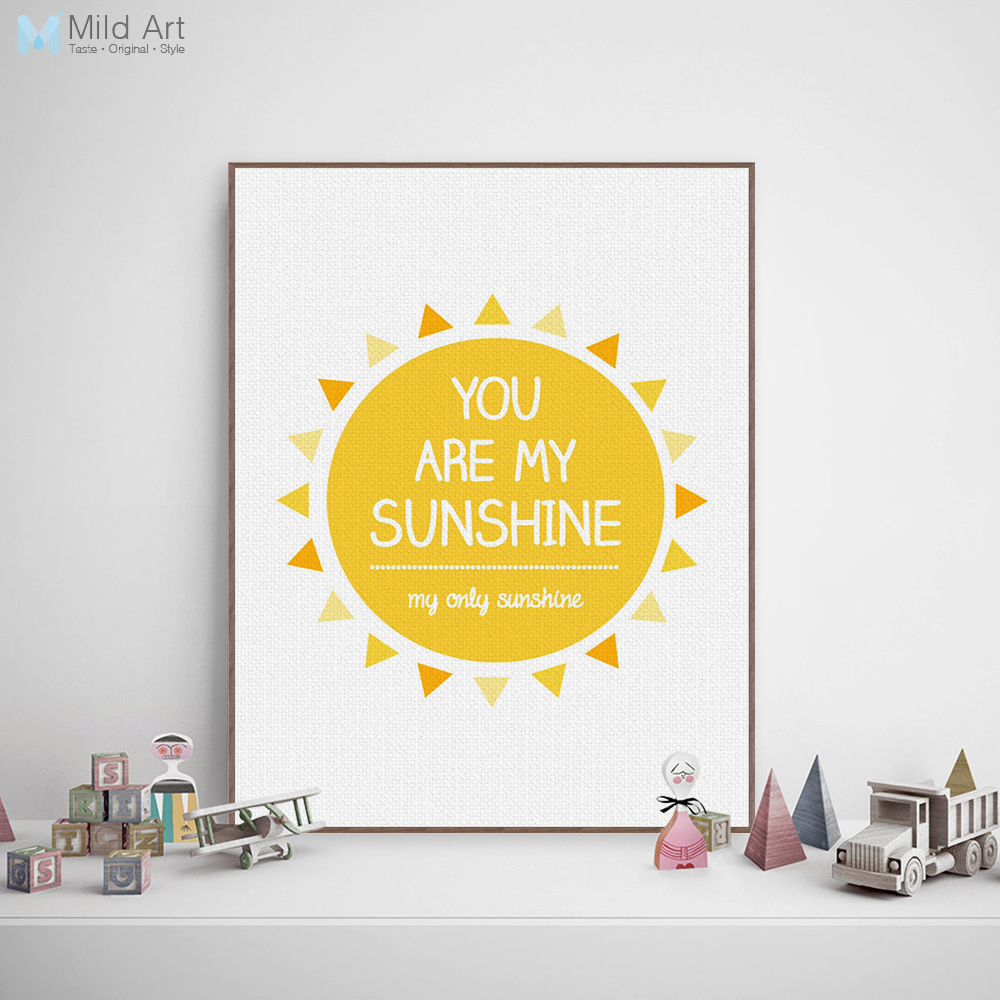 Minimalist Yellow Sunshine Typography Love Song Quotes Art Print Poster Wall Picture Canvas Painting Living Room Decor No Frame image
