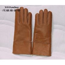 Yiyyunshu овчина и шерсть Варежки Перчатки женские из настоящей овчины Теплые Элегантные женские перчатки из натуральной кожи перчатки Guantes