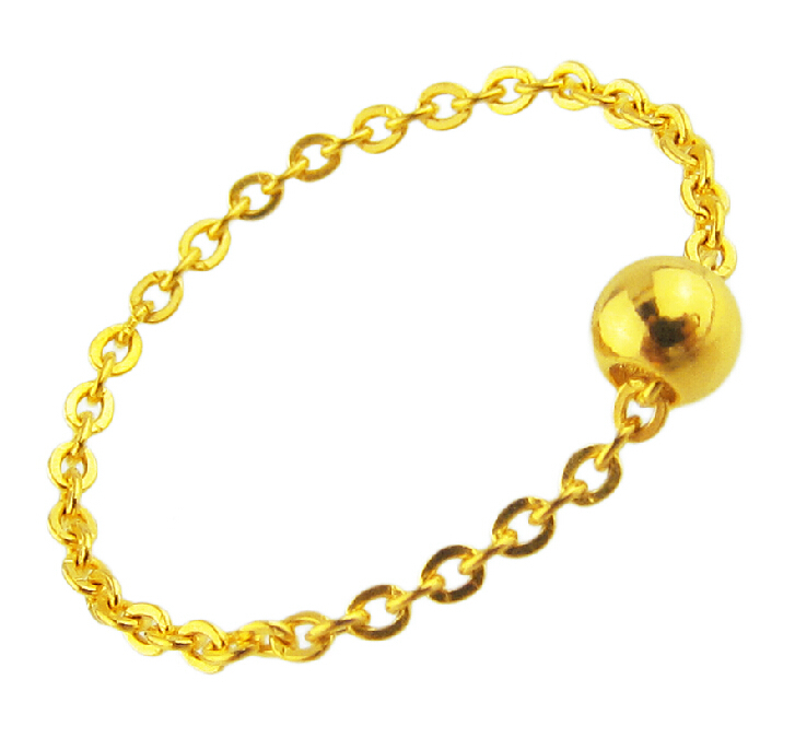 d6f303458ed12 US $51.84 15% OFF|New Pure 24K Yellow gold Beads Ring Cable Chain Ring  0.48g-in Rings from Jewelry & Accessories on Aliexpress.com | Alibaba Group
