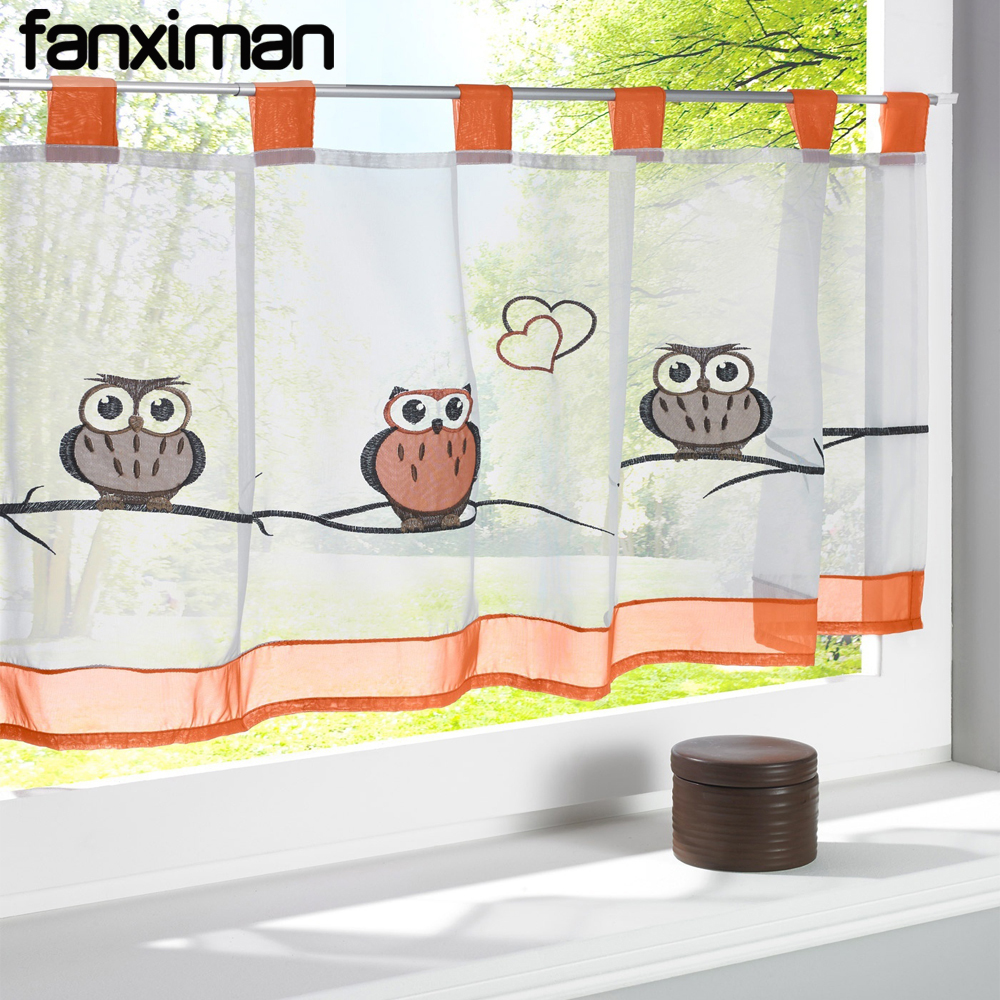 2016 Cafe Kitchen Curtains Voile Window Blind Curtain Owl: Aliexpress.com : Buy 1 PC Owl Embroidered Half Cafe Curtain For Kitchen Pastoral Style Tab Top