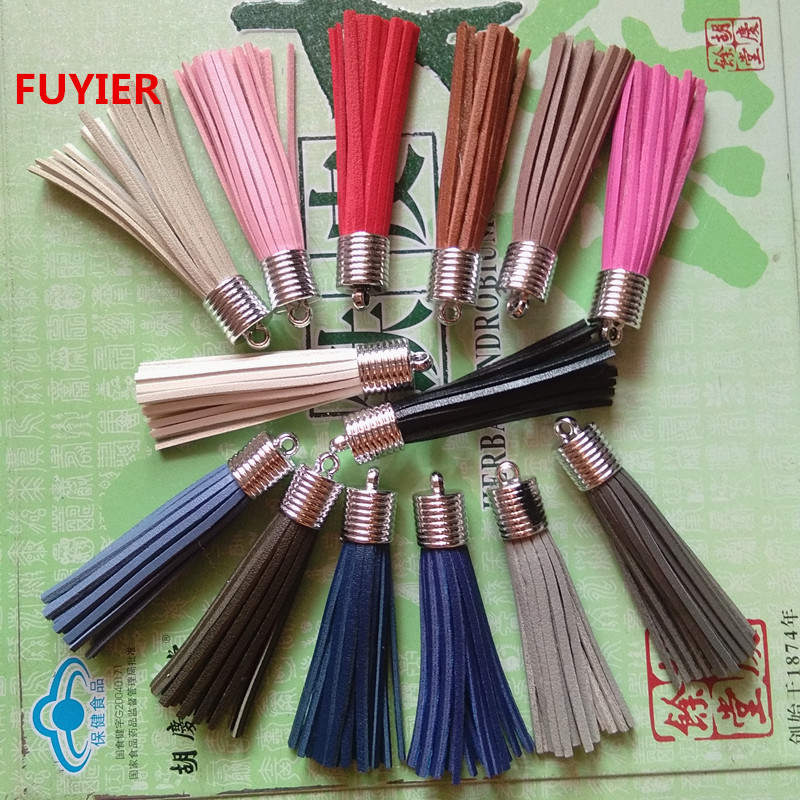 New Cute Leather Tassel Suede Tassel DIY Jewelry Accessories Silver Cap Charming Pendant 8cm 40 Colors