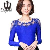 Dingaozlz Korean Autumn Lace Blouse Plus Size Elasticity Mesh Shirt Women Long Sleeve Slim Patchwork Embroidery