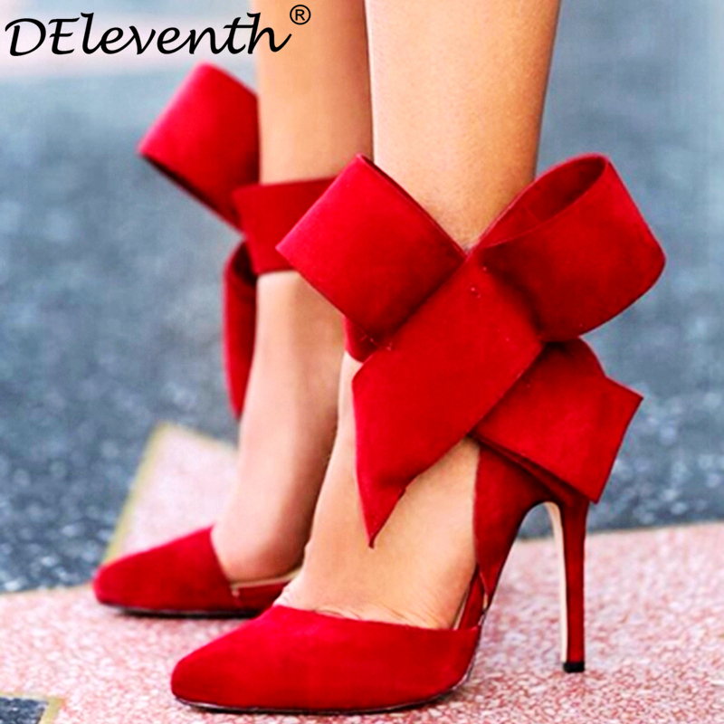 Fashion women's shoes pointed toe big bowtie thin heels high heel Pump shoes female wedding shoes red blue green pink black 43