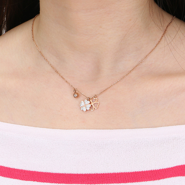 Titanium stainless double crystal clover pendant necklace gold titanium stainless double crystal clover pendant necklace gold dipped charm durable color necklace women jewelry rx077 aloadofball Image collections