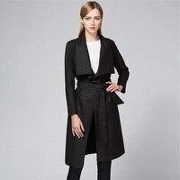 Международная торговля новый стиль отложным воротником кардиган Асимметричная пальто с ремни тонкий элегантный леди Тренч Длинные повсед...