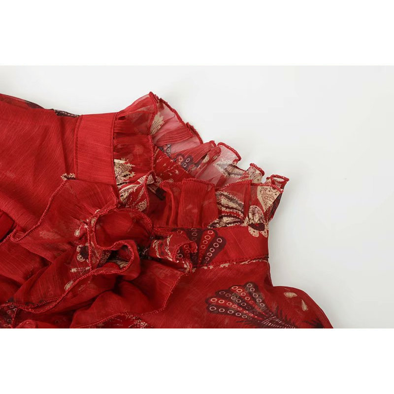 summer chiffon red lace women short jumpsuits long sleeve elastic waist tassel belt chic print ladies playsuits bohemian rompers