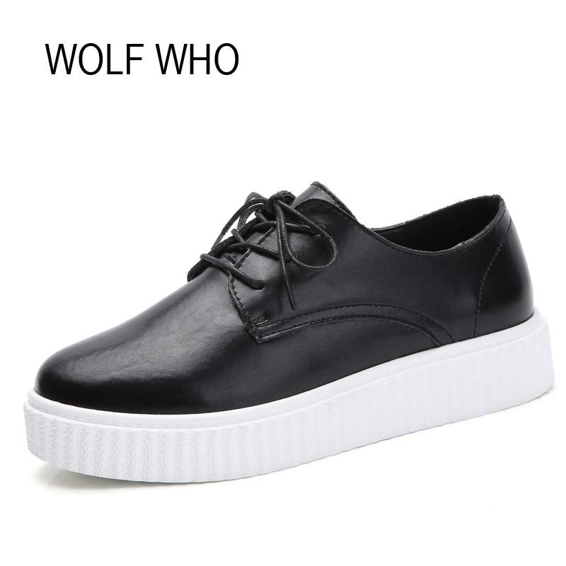 WOLF WHO Leather Creeper Platform Sneakers Women Flatform Ladies Shoes Female Krasovki Tenis Feminino Casual Basket Femme H-145
