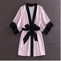 Europe And America Fashion Pink Striped Robes High Quality Women's Night Gown Sexy Black Lace Lingerie Sleepwear One Size