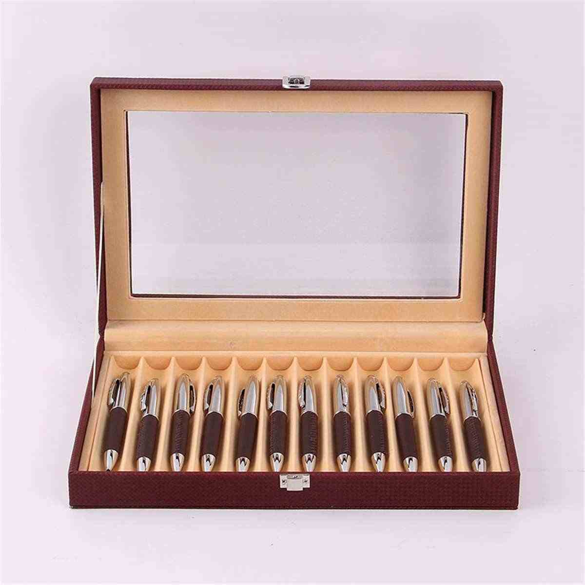 12 ручка PU кожаный чехол для ручек футляр для демонстрации держатель ручки Органайзер коробка с прозрачным окном винно-красный черный